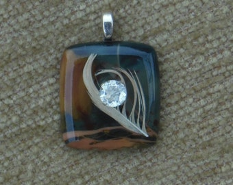 Morisonite jasper with mourning dove feather and genuine aquamarine pendant with sterling silver chain