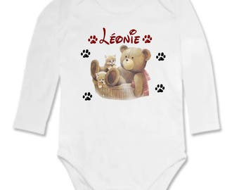 Baby Teddy bear and kitten personalized with name Bodysuit