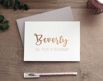Will you be my - bridesmaid - maid of honor - man of honor - brides man - rose gold - personalized - say i do - bride tribe - Said yes