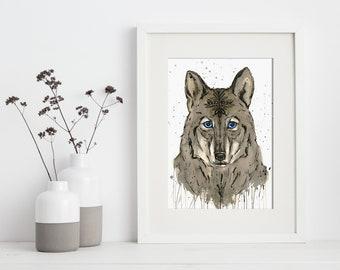 artbrush 'Spirit Wolf' Print (Wolf)