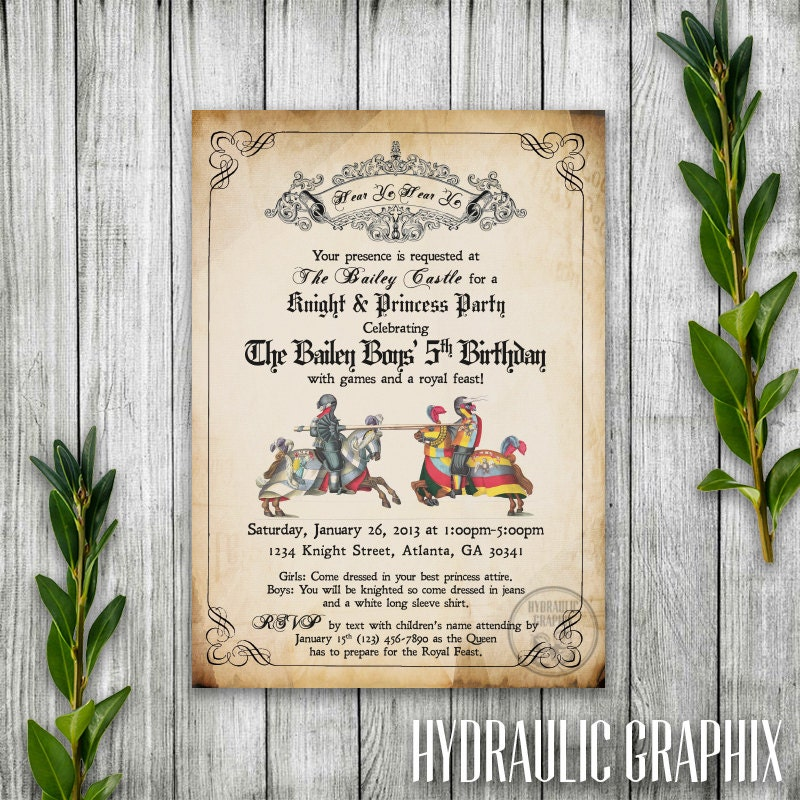 Knight birthday party invitation printable medieval times