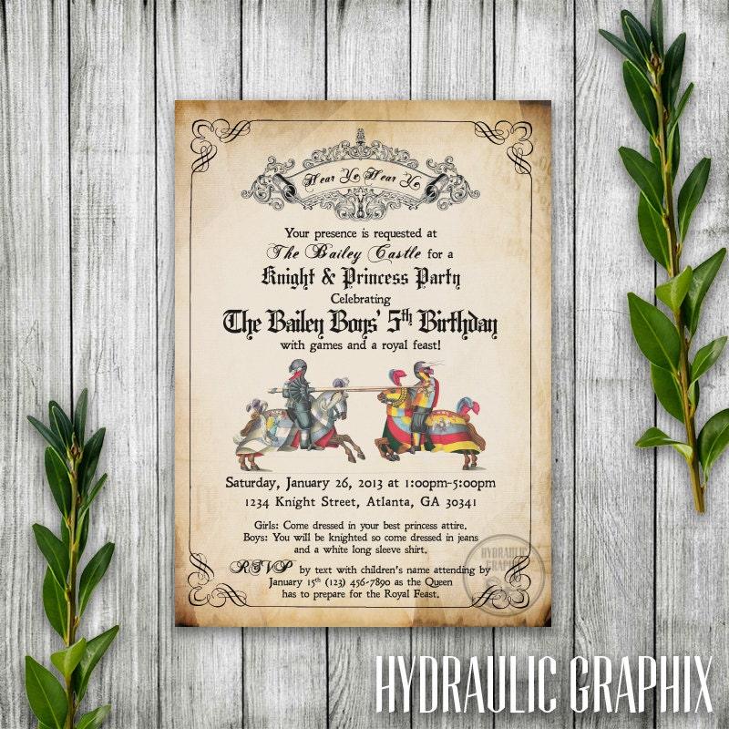 Knight Birthday Party Invitation Printable Medieval Times
