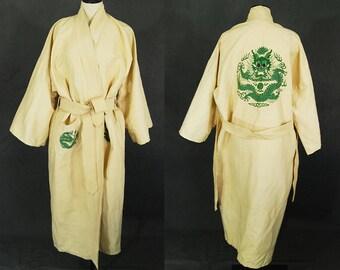 vintage 30s Dragon Kimono Robe - 1930s Raw Silk Embroidered Kimono - Cream Silk Asian Duster Dressing Gown Sz S M L