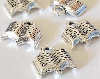 10 Open Book Charms, 3D Silver Book Charms Pendants 12x11mm - BA72