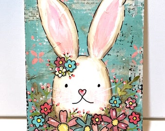 Bunny Sign, Spring Bunny Sign, Home Decor, Bunny Kisses and Easter Wishes, Easter Decor