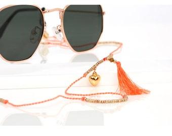 Glasses Chain, Sunglass Strap, Tassel, Bohemian, Gold, Hippie, Sunglass Chain, Glasses Holder, Eyewear Strap, Eyeglass Chain by SUNNY CORDS