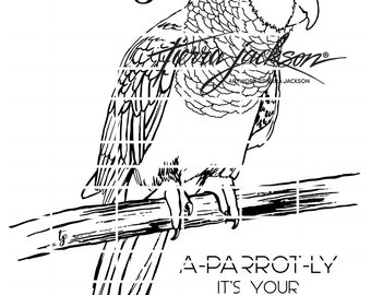 Parrot and two sentiments A-parrot-ly it's your birthday and Ahoy Matey digital stamp by Tierra Jackson