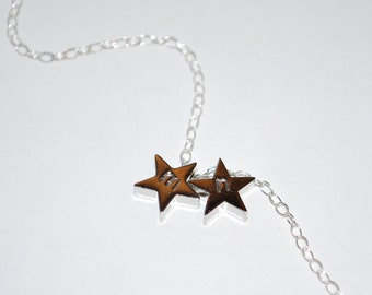 Two initial necklace, small silver initial stars necklace, sterling silver necklace, personalized necklace, star initial necklace, gift