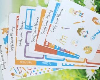 Little Artist Planner Sticker Kit - Happy Planner - Erin Condren - Plum Planner - Functional Stickers - Matte - Art Stickers - Stickers