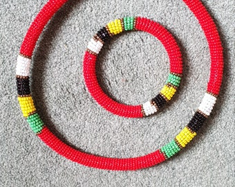 AFRICAN Massai JEWELRY, Necklace with bracelet For Women