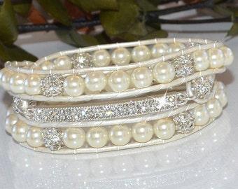 Crystal Bar with Pearls Wrap Bracelet