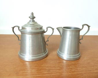 International Pewter covered sugar bowl and creamer pattern 278 03 and 278 04