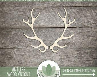 Wood Antler Shape, Unfinished Wood Antlers Laser Cut Shape, DIY Craft Supply, Many Size Options