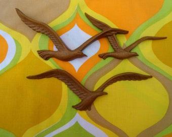 Vintage 1970s MID Century Modern HOMCO Seagulls Birds Plastic Wood Wall Art Retro