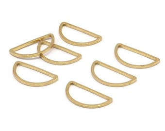 Brass Half Moon - 50 Raw Brass Semi Circle Connectors (8x16x0.8mm) D008