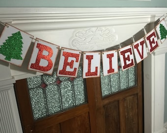 Believe Banner, Christmas Believe Sign, Rustic Christmas Decoration, Holiday Photo Prop
