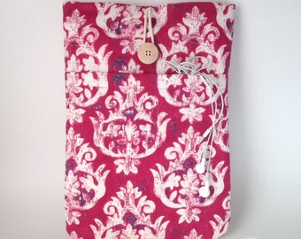 Womens Laptop Sleeve, Ladies Macbook Cover, Womens Laptop Case, Macbook Air 13 Sleeve, 13 inch MacBook Case, MacBook Pro 13 Bag Pink Damask
