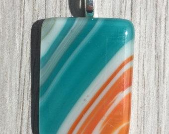 Fused Glass Pendant - Large Aqua Blue, Orange and White Swirl Pendant