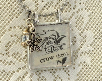 Rooster Pendant Necklace - Soldered art Jewelry - Adjustable Chain