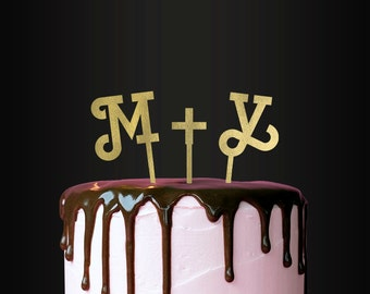 Personalized Wedding Cake Topper, Initials, Bride + Groom, Him and Her, Custom Cake Topper, Customizable Cake Topper