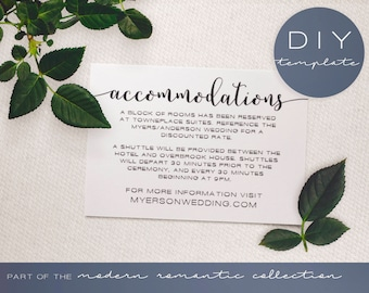 Wedding Invitation Insert - Modern Romantic Collection - Wedding Accommodation Card - DIY Printable Black and White