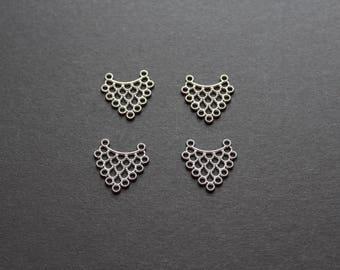 Original set of 4 dull silver connectors