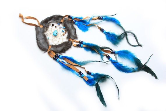 Medium Handmade Navajo Dream Catcher with feathers and rabbit fur. Medicine stones and arrowhead