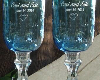 REDNECK WINE GLASS  - Blue,  Engraved,  Personalized, 2 - 16 oz-   aka Hillbilly Wine Glasses - Wedding -Anniversary - Mason Jar