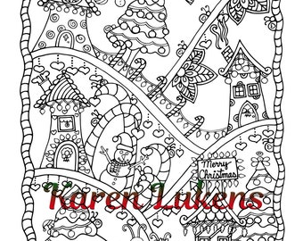 """Christmas - """"Happyville Christmas"""", 1 Adult Coloring Book Pages, Karen Lukens"""