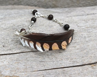 American Kestrel Feather - Leather Bracelet - Bird Jewelry with Silver Chain and Beads