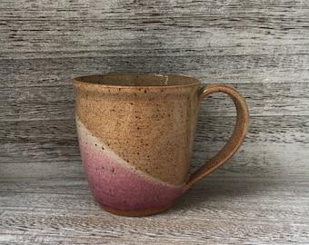 Pottery mug, coffee mug, cream ceramic coffee mug, pink coffee mug, handmade mug, ceramic mug, brown ceramic mug made in North Carolina