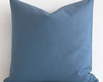 SALE! Cotton Blue Pillow Covers - Decorative Throw Pillow Covers - Blue Cushion Covers - Blue Pillows - Solid Blue Pillow Covers