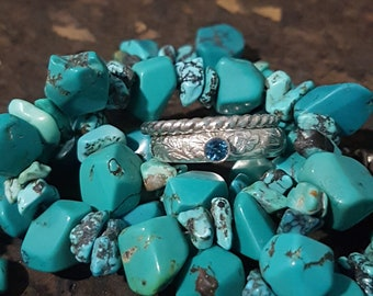 Sterling Silver London Blue Topaz Gemstone Ring Set