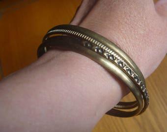 four bronze stacking bangles, vintage stacking bracelets