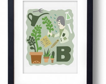 B for Botanist A4 Original Illustration Print