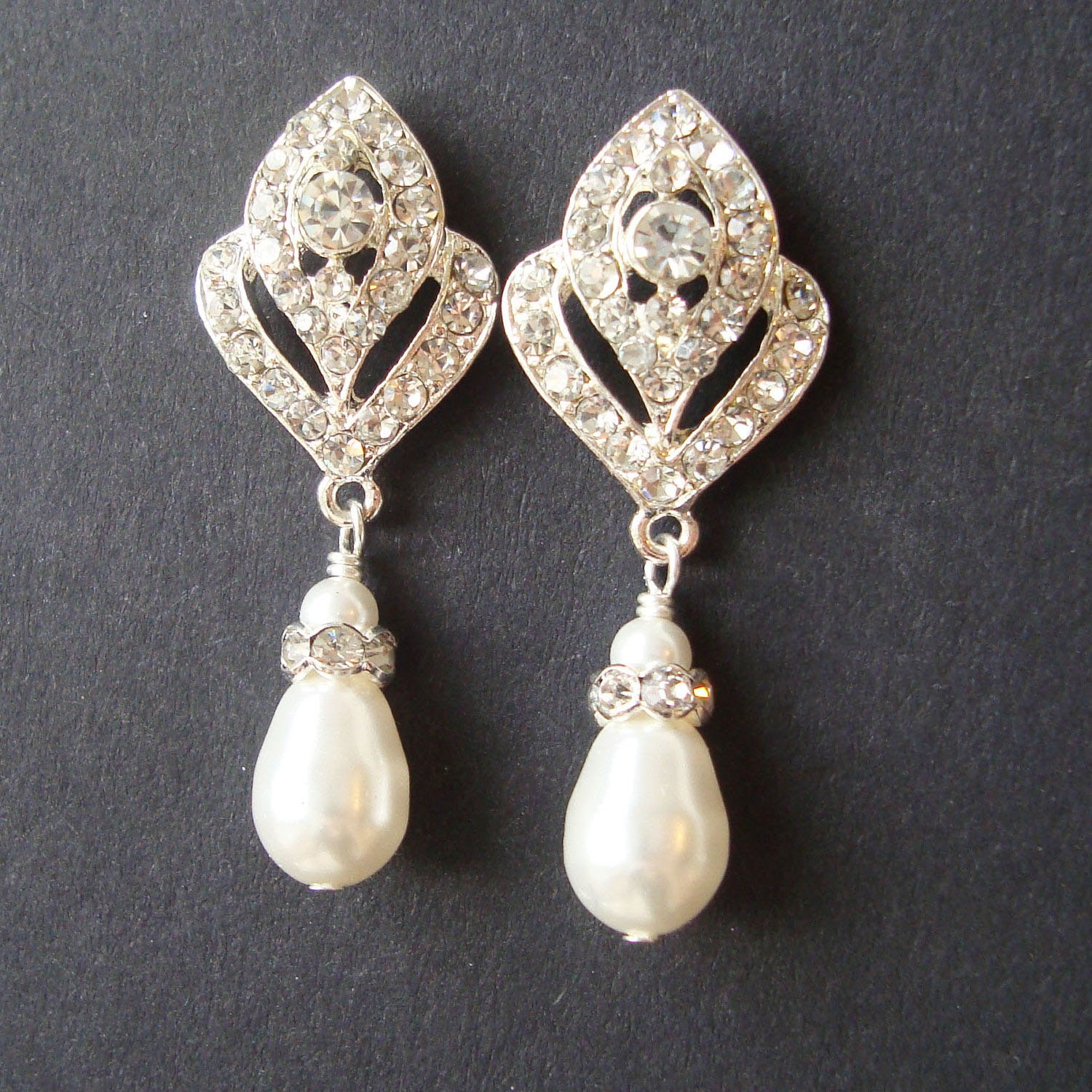 Wedding Jewelry Art Deco Bridal Earrings Pearl Wedding