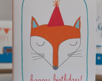 Fox Boy Happy Birthday Folding Card With Envelope