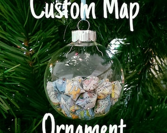 CUSTOM World Map Origami Star Ornament