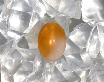 Peach moonstone loose cabochon 10.98ct Peachy pink cat'seye moonstone oval cabochon gemstone
