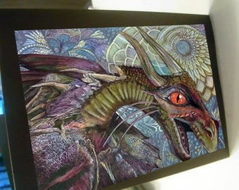 greeting card print of original art-   Zentangle Dragon Lair