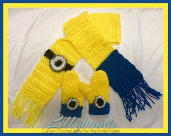 Toddler Minion Scarf and Mittens