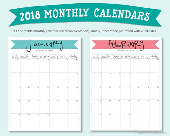 Printable  Monthly Calendars PortraitVertical