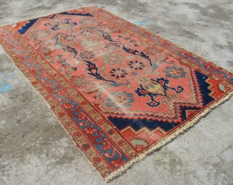 """2'4"""" by 3'6"""" ANTIQUE ORIENTAL RUG - Distressed Handknotted Antique rug with natural colors. Serapi Heriz Rug Eclectic Oriental style rug"""