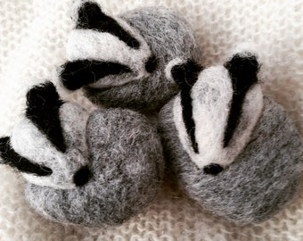 Badger Needle Felted Miniature Felt Ornament or Brooch Gift Woodland Wool