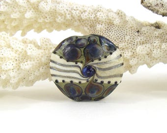 Large lentil lampwork glass  focal bead sra artisan patty lakinsmith pattylakinsmith playa tortuga colorful handmade