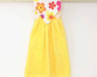 Yellow Hanging Hand Towel, Flower Power Hanging Towel, Yellow Kitchen Towel, Bright Colors Hanging Kitchen Hand Towel, Bright Kitchen Decor