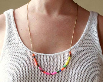 Neon and Gold Necklace, Limited Edition Key West Collection