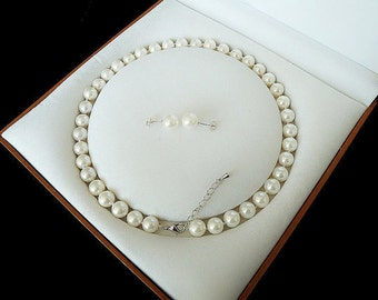 8mm white shell pearl necklace & earring set