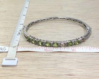 "Vintage 7"" 925 Sterling Silver 9.1g Bracelet Peridot Missing Stones Used"