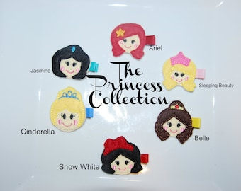 CHOOSE TWO-Felt Embroidered Princess Collection Hair Clips /  Birthday Party Favors